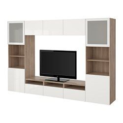 "$691 - IKEA - BESTÅ, TV storage combination/glass doors, walnut effect light gray/Selsviken high-gloss/white frosted glass, drawer runner, soft-closing, 118 1/8x15 3/4x75 5/8 "", , The drawers and doors close silently and softly, thanks to the integrated soft-closing function.This TV storage combination has plenty of extra storage and easy to keep the cords from your TV and other devices out of sight but close at hand, as there are several cord o..."