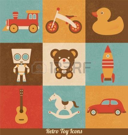 Retro-Spielzeug-Icons Stockfoto