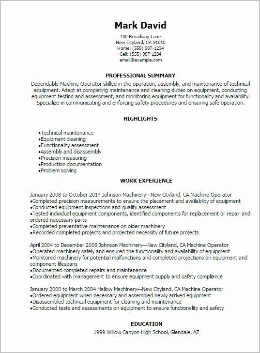 Machine Operator Resume Example Beautiful 1 Machine Operator Resume Templates Try Them Now In 2020 Resume Skills Resume Templates Accountant Resume