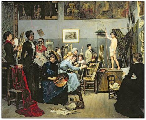 A Académie Julian (1881) Marie Bashkirtseff  Dnipropetrovsk State Art Museum  Óleo sobre tela   http://sergiozeiger.tumblr.com/post/110920733548/a-academia-julian-e-uma-escola-privada-de-pintura  A Academia Julian é uma escola privada de pintura e escultura, fundada em Paris em 1867 pelo pintor francês Rodolphe Julian (1839-1907).: