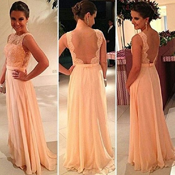 Vestidos De Fiesta Peach Long Chiffon A-Line Formal Evening Gowns Nude Back Lace Prom Dresses LQ4889