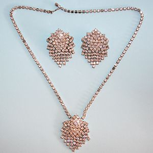 Vintage 1950's Crystal Waterfall Necklace and Earrings Set