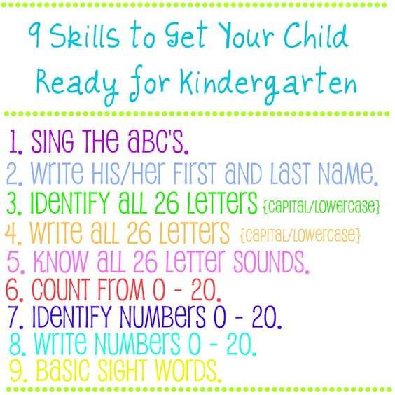 Prep for kindergarten ...