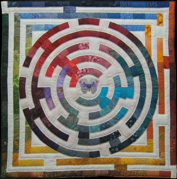 Maze quilt. The treasure at the center is a butterfly.