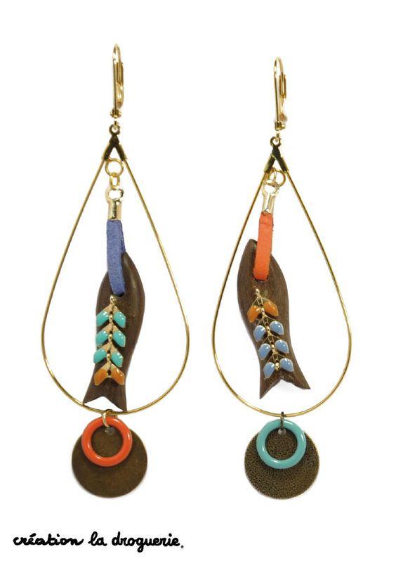 Des BO colorées avec des jolis poissons, parfait pour l'été !! #ladroguerie #bijoux #bo