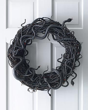 Martha Stewart Wriggling Snake Wreath for outside at Halloween