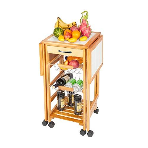 Portable Rolling Drop Leaf Kitchen Storage Trolley Cart Island White Tile Top Folding Trolley Ta Kitchen Storage Trolley Dining Table With Storage Kitchen Roll