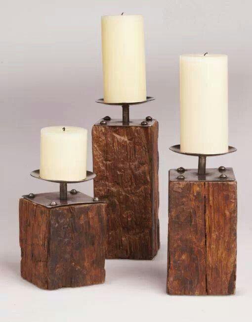 Belos castiçais de madeira reaproveitada!