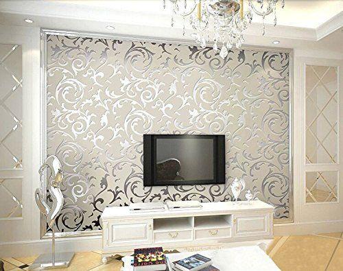 hanmero papier peint baroque designe damass classique acanthe feuille flocage 3d pvc pour salon tv backdrop - Papier Peint Pour Salon