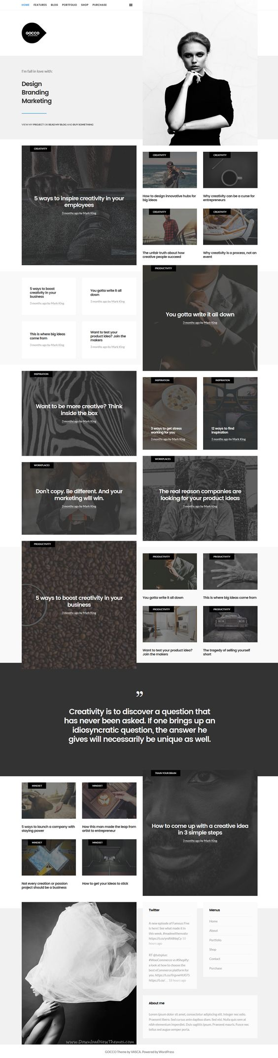 Gocco is simple and modern responsive #WordPress theme for personal #blog, #portfolio and #eCommerce website download now➝ https://themeforest.net/item/gocco-portfolio-wordpress-theme/16227911?ref=Datasata