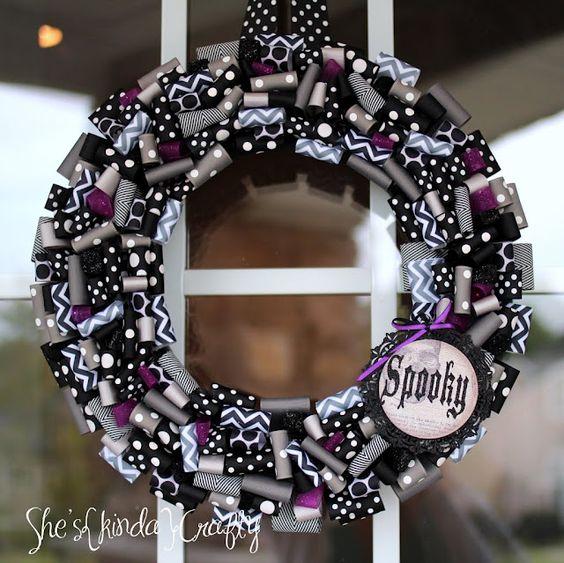 Twilight Zone or Halloween Ribbon {Wreath} - love her ribbon choices!  via She's kinda Crafty