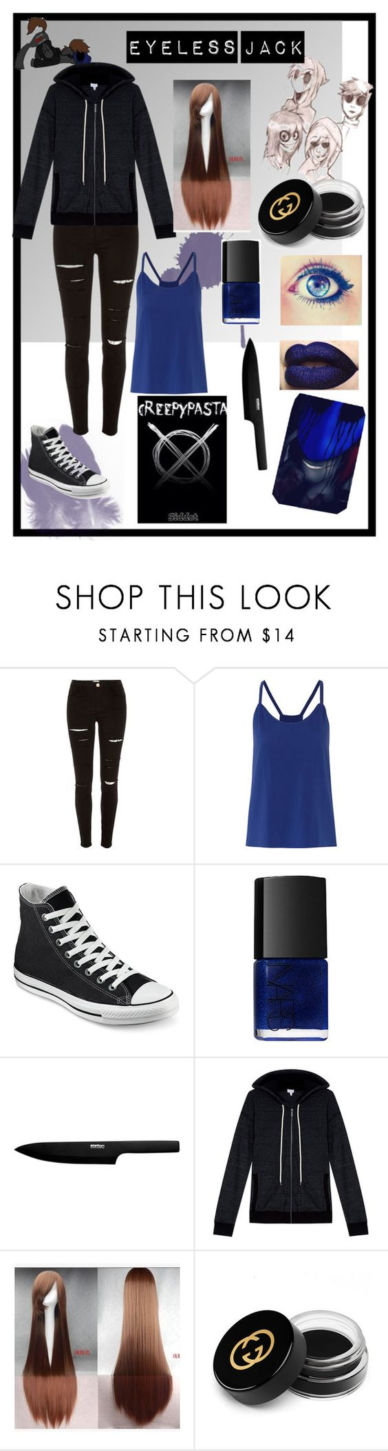 """look eyeless jack"" by celiane-basille on Polyvore featuring mode, River Island, Alice + Olivia, Converse, NARS Cosmetics, Stelton, Splendid et Gucci"