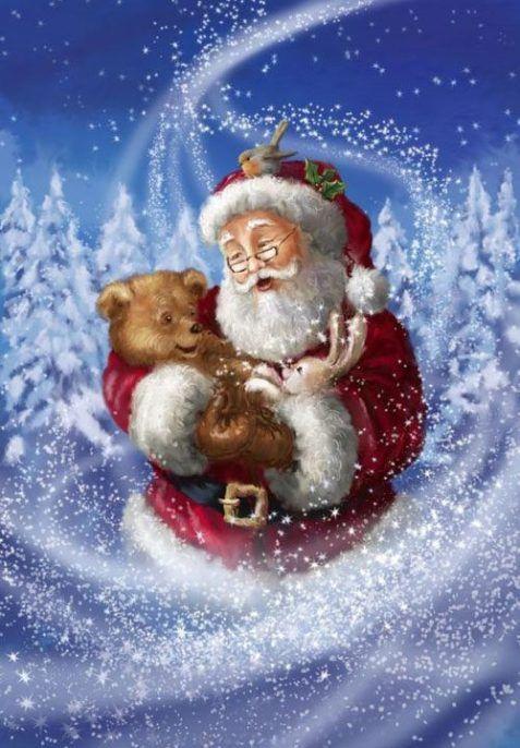 12 Weihnachtsmann Bilder mit Tieren | PaGi Decoplage
