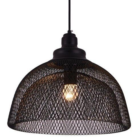 Elegant Lighting Ldpd2032 Warren Single Light 13 1 2 Wide Pendant With An Alumi Elegant Lighting Black Cage Pendant Lighting Black Pendant Light