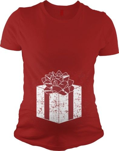 Present Baby Belly T Shirt Funny Maternity Shirt Christmas Pregnancy Tee S, Infant Girl's, Size: Small, Red
