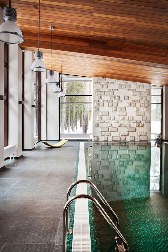 Architecture, Magnificent Cozy Homes Of Ruben Dishdishyan Designed By Russian Architect Nicholas Lyzlov Featuring Indoor Home Swimming Pool With Wooden Ceiling: Secluded Contemporary Residence of the Ruben Dishdishyan Retreat