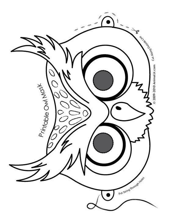 O is for Owl Cute Printable Halloween Animal Paper Masks owl-mask-coloring-page – Fantasy Jr.: