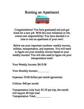 math worksheet : renting an apartment worksheet packet  renting and worksheets : Consumer Math Worksheets