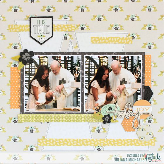 Today It is True Baptism Scrapbook Page by @Juliana Michaels  for 3 Birds Studio using the Graceful Season Collection available on HSN.com #3birdsdesign #scrapbookpage #gracefulseason