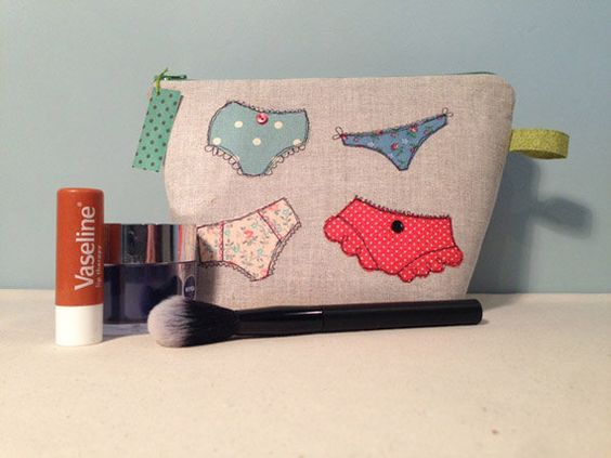 Freehand Machine Embroidered Makeup Bag with Four by LoveLooly