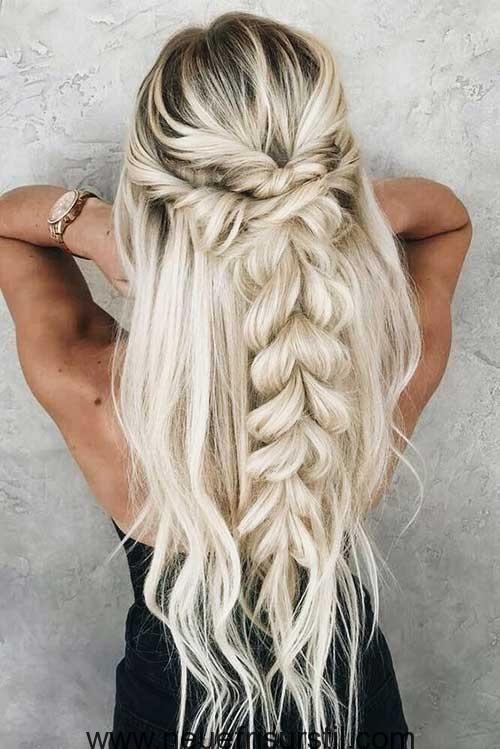 Halfte Geflochtene Lange Haare Frisuren Pinterest Lange Haare Perfektes Haar Frisur Braids For Long Hair Cute Braided Hairstyles Long Hair Styles