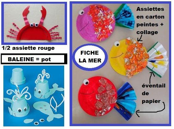 Que faire avec des assiettes en carton poisson crabe - Activite avec assiette en carton ...