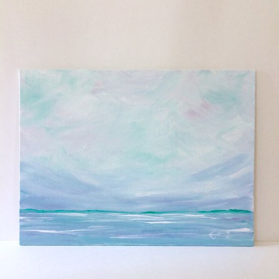 original seascape artwork blue water soft pastel sky landscape acrylic painting 9x12 canvas panel board minimalist acryclic painting soft