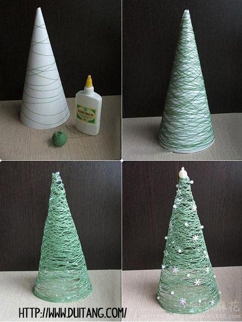 arbol navidad cuerda  - DIY Navidad con niños