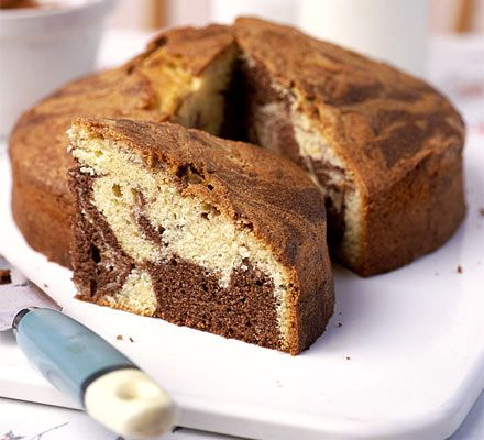 Chocolate Marble Cake - this recipe has really great, yummy results. Although this uses vanilla and chocolate for the marble effect, it could be turned into an exciting looking multi-coloured marble cake if using food colouring.