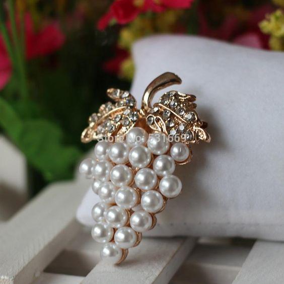 Grapes Broschen Rose Überzog Perlenbrosche Kristallrhinestone Blume Für Hochzeits Brautkleid Hijab Clip Schal Schnalle Pins