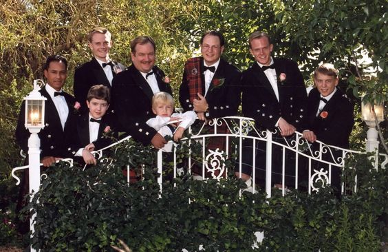 Anthony Aquilla, Christian McCrea, Jeremy Bergeson, David Holmstrom, Mark Holmstrom, Jimmy McCrea, Peter Bergeson, Matt Meservy at Jimmy's Scottish Wedding, June 16, 2000.