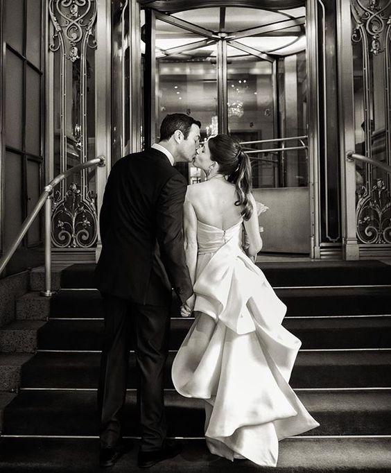 We love @daisymsanders' stunning #MoniqueLhuillier wedding dress! #DancingwithDJ #ChristianOthStudio