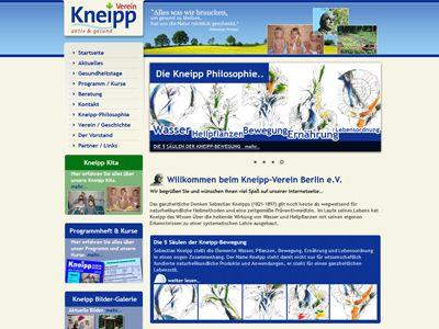 Kneipp Verein Berlin  Internetpräsentation für den Kneipp Verein Berlin.  Das ganzheitliche Denken Sebastian Kneipps (1821-1897) gilt noch heute als wegweisend für naturheilkundliche Heilmethoden und eine zeitgemäße Präventivmedizin.