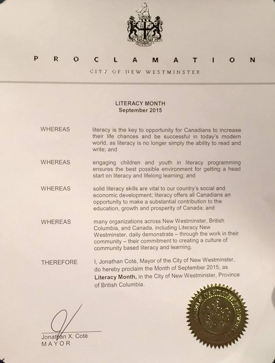 Literacy Month Proclamation -- New Westminster Literacy is Life - new letter format to city mayor