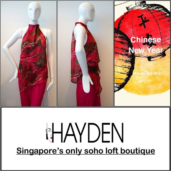 As we approach the Year of the Wooden Horse! Usher in the Year of the Wooden Horse in this HAYDEN BOUTIQUE SS 2014 Pret-A-Porter Collection Silk Chiffon printed halter neck top with capri satin trousers ! View SS 2014 Collection In Details - http://www.haydensingapore.com/ss-2014