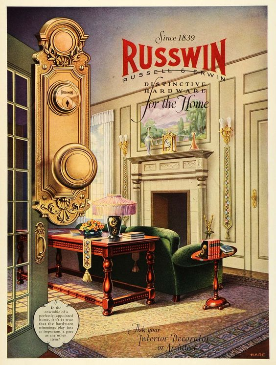 1927 Ad Russwin Russell Erwin Hardware Home Interior Design Hare Fireplace  HB3