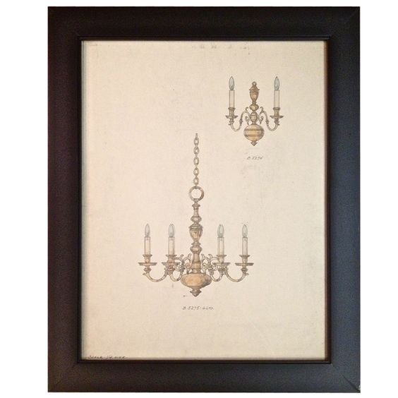 1920s Original Chandelier Illustration Regency Lighting Large | From a unique collection of antique and modern paintings at https://www.1stdibs.com/furniture/wall-decorations/paintings/ #20's #regency #