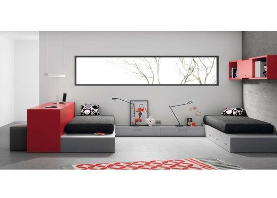 Dormitorio juvenil con 2 camas tatami y escritorio for Dormitorios juveniles dos camas