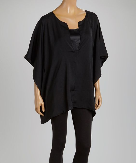 Look at this Black Cape-Sleeve Tunic - Women on #zulily today!