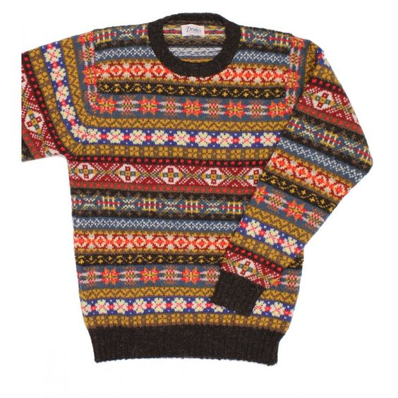 Long Sleeve Shetland Wool Fairisle Crew Neck Sweater - Knitwear ...