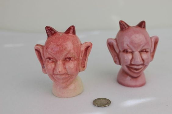 Vtg Devil Salt and Pepper Shaker 50s or 60s Rose colored Devils Unique Design