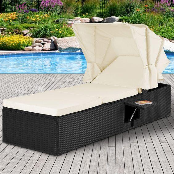 Chaise Longue Bain De Soleil Rotin Noir Cielterre Commerce En 2020 Bain De Soleil Chaise Longue Canape Lit Design