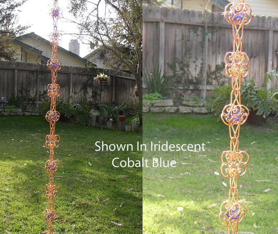 Solid Copper  Rain Chain Sun Catcher 8 Ft by TwistsOnWire on Etsy, $138.00