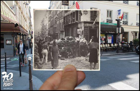 Rue Rodier, Jeunes et vieux mettent la main à la pâte pour monter une barricade à l'angle de la rue de la Tour d'Auvergne (9e). - Golem13