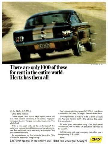 Hertz Shelby GT350H Ad