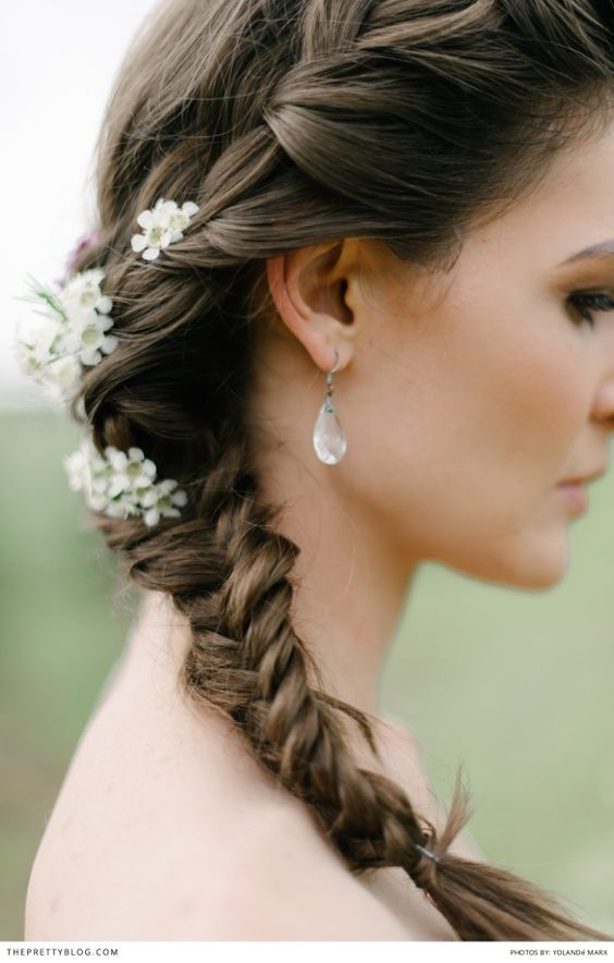 Side Plait wedding hair idea, with small flower details | Photographer: Yolandé Marx | Hair & Make-up: Marnel Toerien |