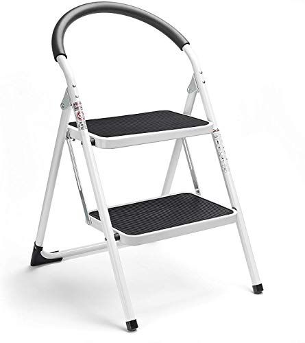 New Delxo 2 Step Stool Folding Step Stool Steel Stepladders Handgrip Anti Slip Sturdy Wide Pedal Steel Ladder 330lbs White Black Combo 2 Feet 2 Step Stool Onl In 2020 Folding Step Stool