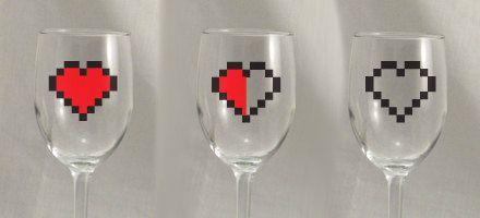 Zelda Heart Glass Set of 3. $10.00, via Etsy.