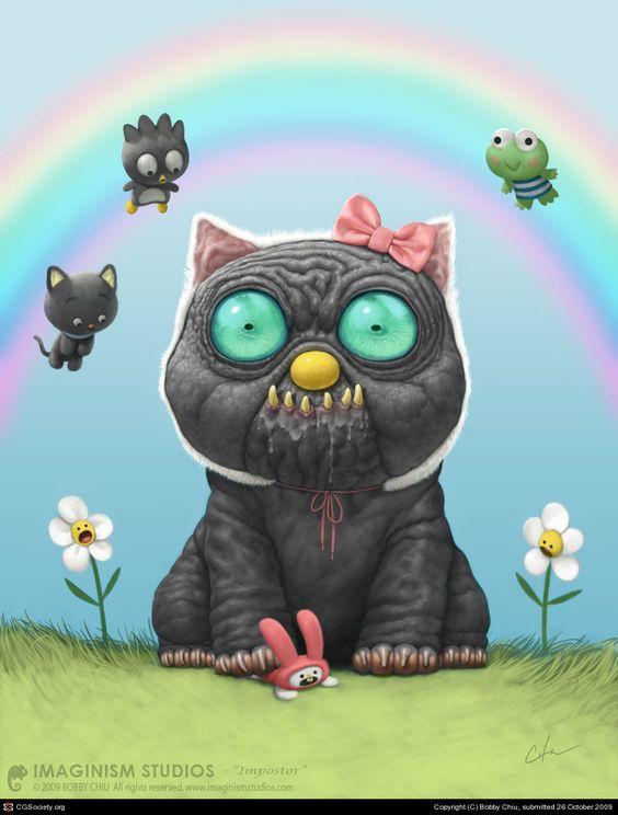 Imposter by Bobby Chiu.  I really like this guy's whimsical yet dark interpretations of the world.  This one cracked me up, mostly because I was a Hello Kitty and My Melody fan when I was a kid.  I like his use of color and texture to emphasize the scary side of his work.