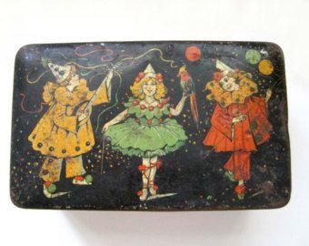 Art Nouveau Tin Box, c. 1910, Antique Tin Box, Amsterdam Dutch Tin, Circus Theme, Storage Container, Tea Tin Biscuit Tin, Candy Tin